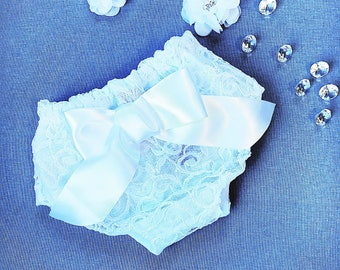 Baby girl's diaper cover, white lace panties, lace diaper cover, lacy bloomers, white lace diaper cover, baptismal bloomers