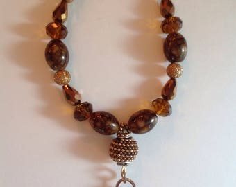 Shades of brown tassel necklace