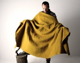 Blanket, Wool Blanket, Pure virgin wool blanket, Single size blanket, Mustard blanket, home decor, Bedding, Warm blanket,