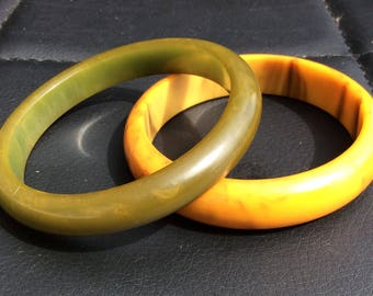 """Two Bakelite Bangles """"Butterscotch and Olive Green"""" both Simichrome Tested."""