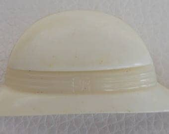 Vintage Yves Rocher Acrylic Hat Shaped Brooch.