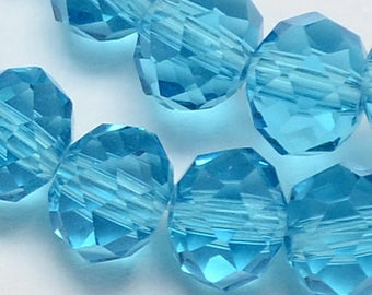20 blue 6x4mm faceted abacus beads