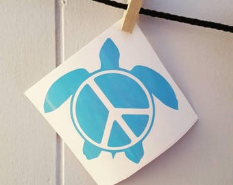 Sea Turtle Car Decal Sea Turtle Decal Sea Turtle Sticker Peace Sea Turtle Car Decal Peace Sea Turtle Decal Turtle Car Decal Turtle Decal