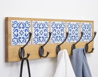 "Azulejo Coat Rack ""Bom dia!"" - light brown oak wood & hand made tiles"
