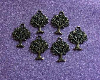 6 Bronze Tree of Life Charms