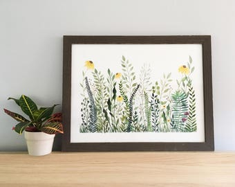Fern Forest 2 - Original Watercolor Painting - Framed