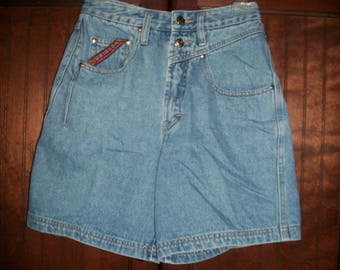 Vintage 80s, 90s High Waist Medium Wash Jean Shorts Size 7