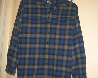 Vintage Polo Ralph Lauren Blue Plaid Flannel Shirt Size L