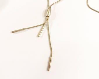 Vintage Mid Century Tassel Necklace, Silver Tone, Chain