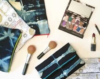 Shibori Denim makeup bag