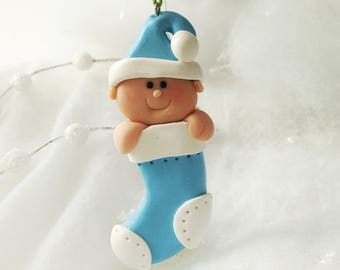 Handmade Baby's First Christmas Ornament, Baby Boy First Christmas, Baby Ornament, Personalized First Christmas, Girl Ornament, Boy Ornament