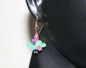 Solid gold 14 K 585/1000 Ruby + emerald + sapphire earrings