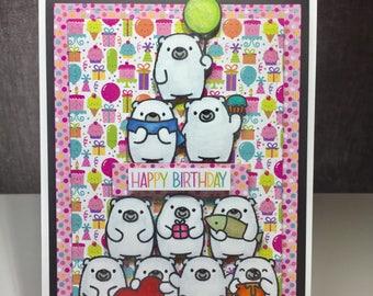 Birthday card with a polar bear pyramid!
