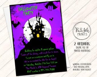 Halloween Party Invitation, Halloween Birthday Party Invitation, Haunted House Invite, Purple Halloween Invite, Costume Party Invitation
