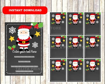 Christmas Santa Claus Gift Tags - Christmas Favor Tags - Christmas present tags - Santa tags - TYPE Your Own Text - Editable