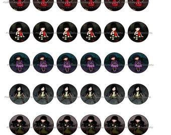 Series 988 - 42 Images Digital girl-cabochons - 25 mm size - send by mail creations