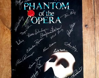 The Phantom of the Opera signed Window Card Poster, Phanthom of the Opera, Broadway Musical, Vintage Poster