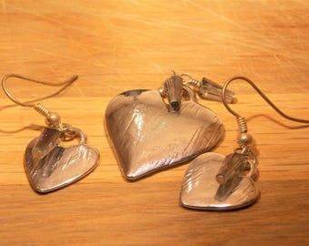 Silver Heart Shaped Earrings and Pendant with crystal accent