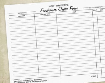 Fundraising Order Form PDF, Charity, Fundraiser Form   Editable Custom  Template, Digital File