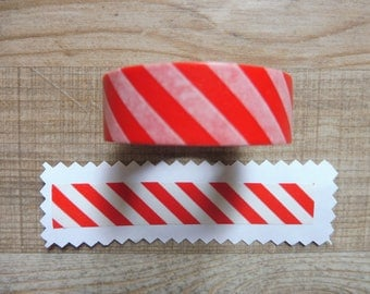 Washi tape 1.5 cm 10 m with red and white striped design
