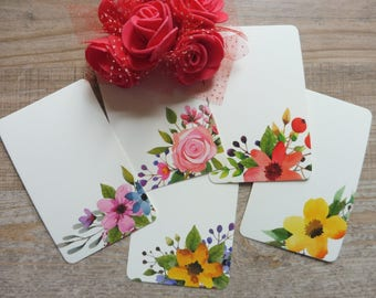 Blank tickets/card blanks 10 pezzi/pieces set with floral decorations