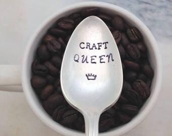 CRAFT QUEEN, handstamped vintage coffee spoon