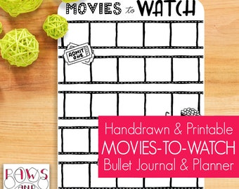 Movies To Watch Printable • A5 Planner Printable • Movie Wishlist • Movie Night Planner • Movie Planner • Movie Film Tracker • Four Sizes