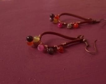 Copper wire wrapping earrings,beads,wire wrapping,copper ribbon earrings,handmade
