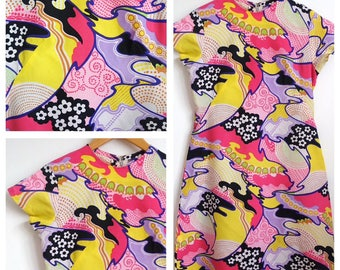 Amazing bright vintage 1960s Psychedelic Shift dress 12 10