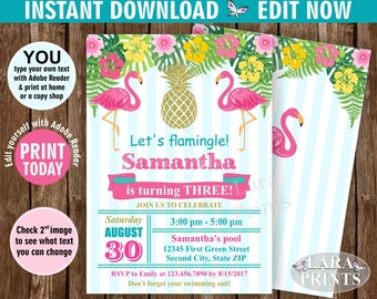 INSTANT DOWNLOAD / edit yourself now / Birthday Invitation / Flamingo / Pineapple / Invite / Luau / Hawaiian / Party / Girl / Pink Teal BDP6