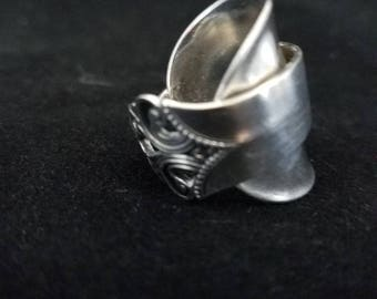 Vintage Sterling Silver Spoon Ring.  This is a Swedish demitasse spoon with gorgeous detail. It sits at a 8.5, can be sized up or down