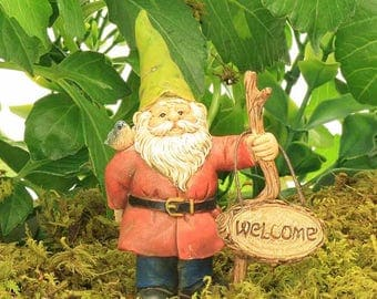Standing Gnome with Welcome Sign, Fairy Garden Figure, Fairy Garden Accessory, Gnome Figure, Miniature Gnome
