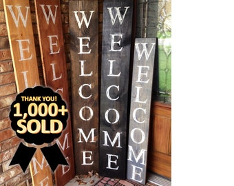 WELCOME SIGN, RUSTIC Wood welcome sign, front door welcome sign, vertical welcome sign, welcome sign porch, large welcome sign, home decor,
