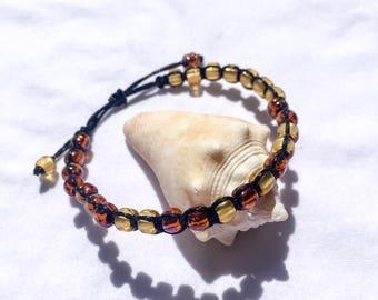 AMBER Adjustable Knotted Glass Bead Bracelet