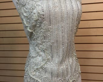 Designer Full body Rhinestone Applique, Beaded Wedding Dress Applique. Swarovski Shine # 81165