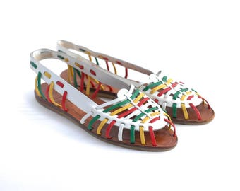 vintage leather huaraches | women's weave woven sandals | open toe slingbacks | colorful flats shoes | 80s 90s flats | size 7 1/2