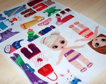 5 Printed sheets. Dress up Dolls. Korean Felt. Eco-polyester 100%