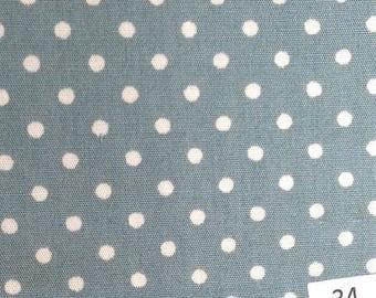 High quality cotton poplin, greyish green/white polka dots