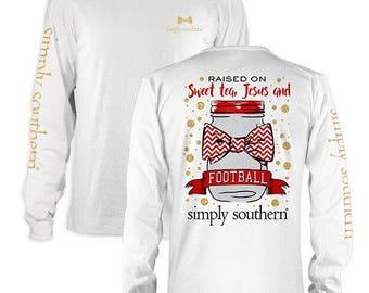 "Simply Southern ""Raised On Sweet Tea, Jesus, & Football"" T Shirt"