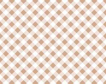 Brown Gingham Fabric - Riley Blake Nutmeg Gingham Fabric - Brown and White Check Fabric