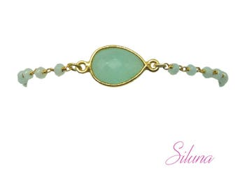 Bracelet aqua chalcedony and vermeil (sterling silver 925 gold plated): gemstones and Rosary chain
