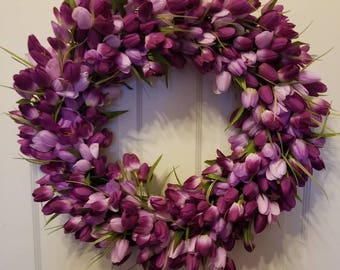 Tulip wreath / spring wreath / front door wreath / holiday wreath / Easter wreath / summer wreath / door wreath