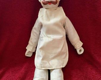 Vintage chef porcelain doll