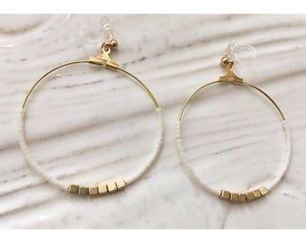 Beaded Hoop Earrings | pierced | clip on
