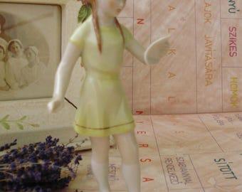 Vintage cute Hungarian Drasche porcelain child figurine,SINGING CHOIR GIRL, stamped,handpainted