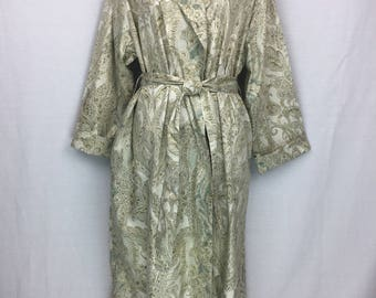 Shawl collared Dressing gown/bathrobe in 100% cotton sateen in Fawn, Sage green and beige
