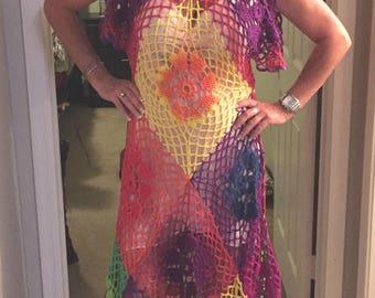 Sunny Crochet Dress / Handmade / Hand Dyed / Cotton / M-L / Women's Gift Idea / Yellow / Orange / Green / Purple / Red
