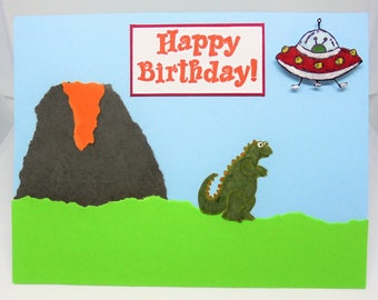 Dinosaur birthday card, alien birthday card, cards for kids, kids cards, boy birthday gift, kids birthday cards, kids birthday gift
