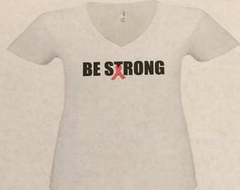 Be Strong V-neck shirt with pink ribbon. Cancer sucks. Breast cancer shirt.