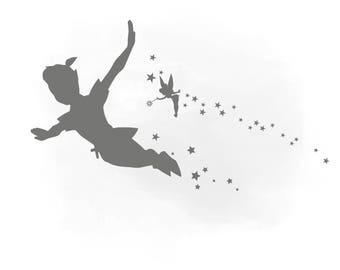Peter Pan Svg clipart, Peter pan Monogram, Svg Files For Silhouette For Cricut, Fairy Iron On Transfer Clipart in AI Svg Png Jpeg